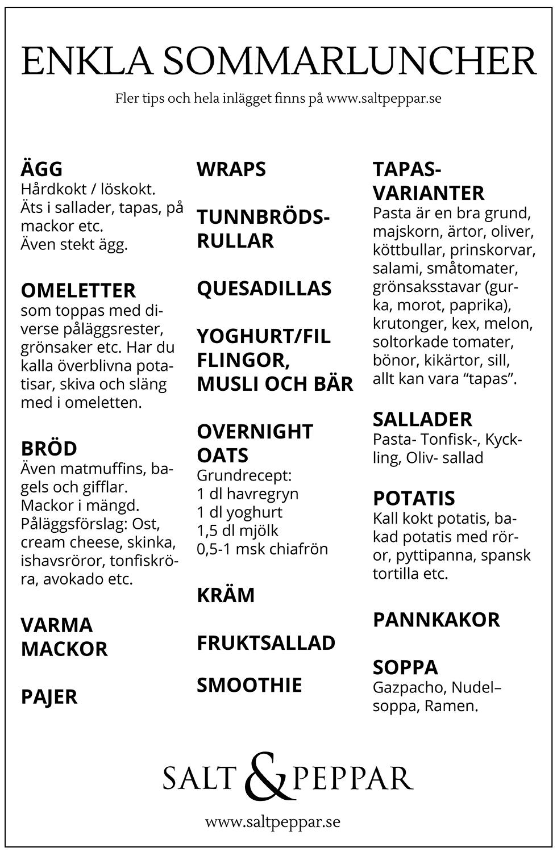 Sommarmat lista