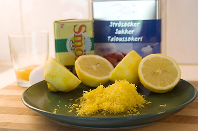 Ingredienser till lemon curd