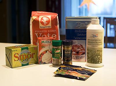 Ingredienser till skurna pepparkakor