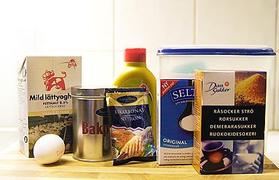Ingredienser till amerikanska vaniljpannkakor