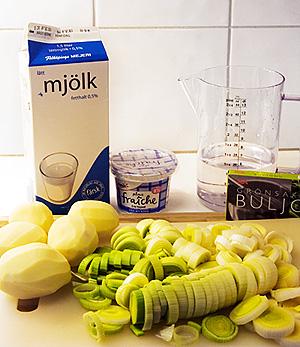 Ingredienser till potatis- och purjolökssoppa