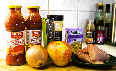 Ingredienser till kycklingsoppa