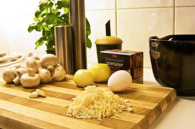 Ingredienser till italienska köttbullar