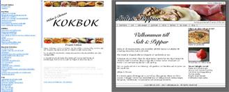 Projekt kokbok till vänster och Salt o Peppar till höger