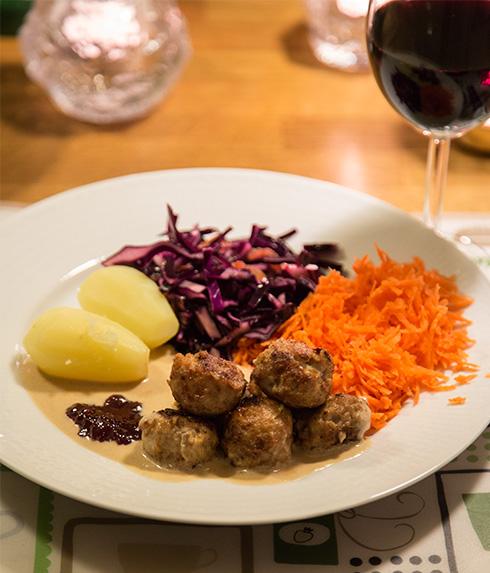 vin och köttbullar