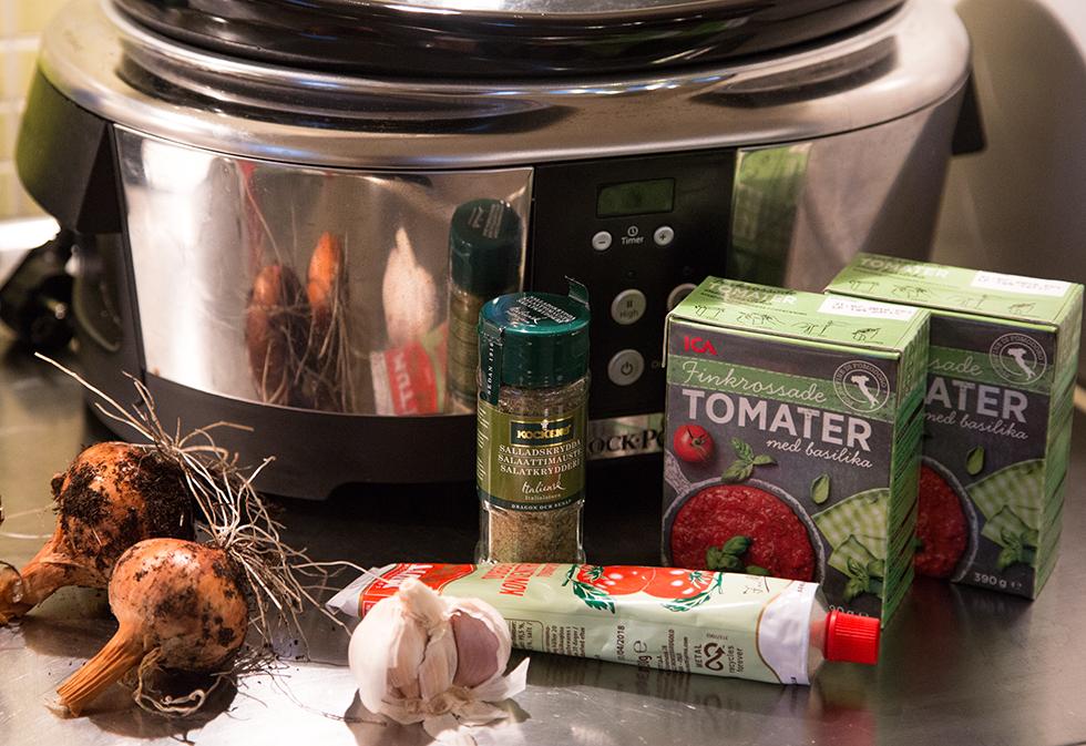tillbehör till tomatsås i crock pot