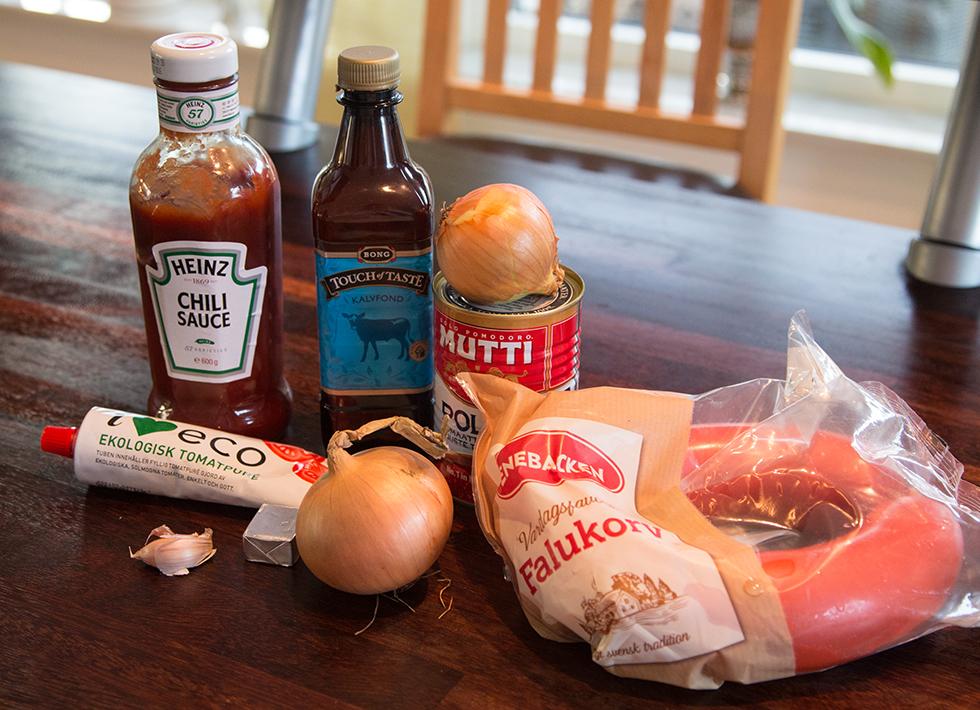 ingredienser till korvstroganoff