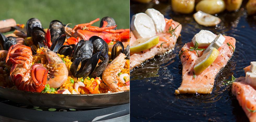 fisk och skaldjur på stekhäll