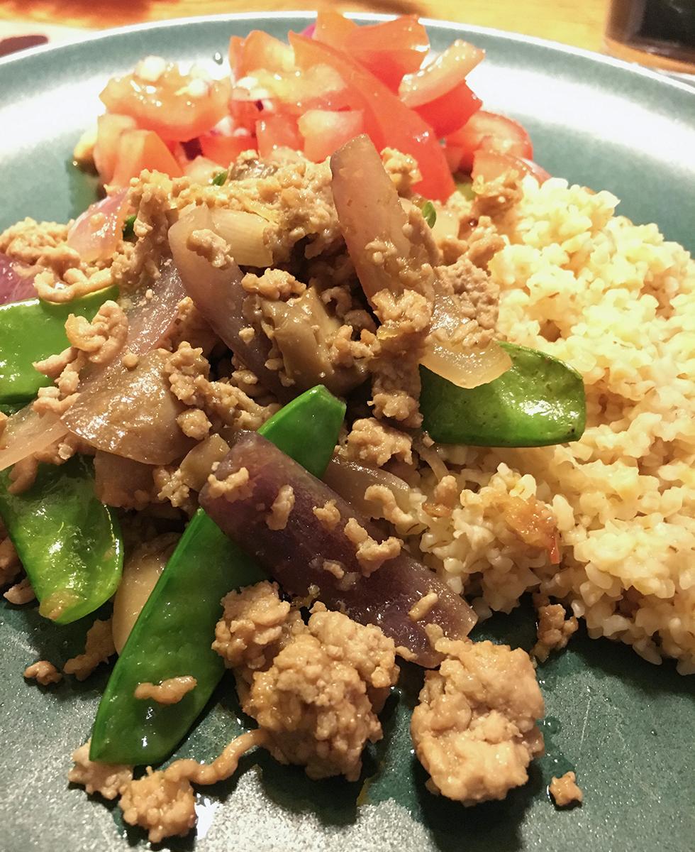 Ginger Pork Wok med mynta och ris