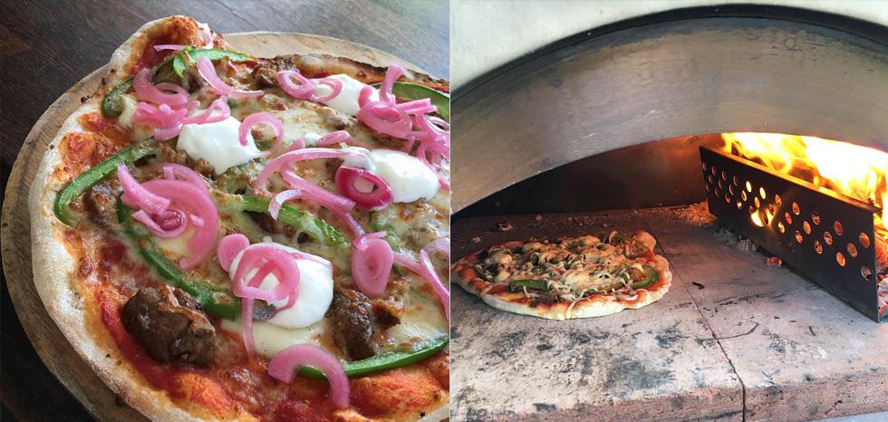 Lammfärspizza med picklad rödlök och gräddfil