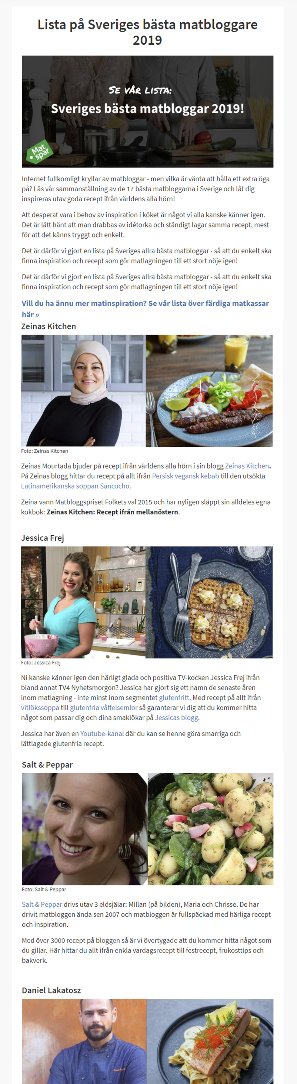 Matspar.se listar Sveriges bästa matbloggar 2019