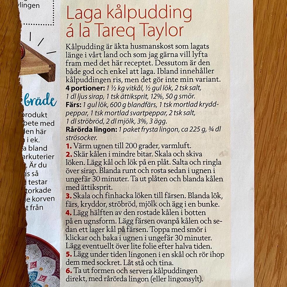 Kålpudding á la Tareq Taylor