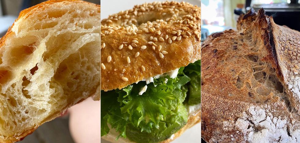 Surdegscroissanter, bagels och grytbröd
