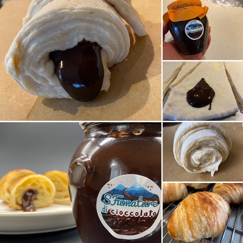 Hemmagjorda surdegscroissanter med chokladfyllning