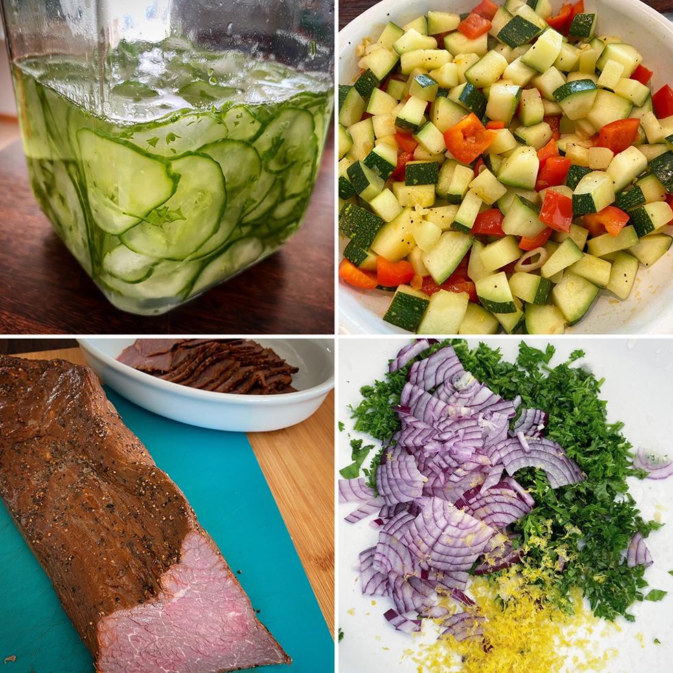 Rostbiff, potatissallad och pressgurka